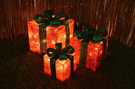 set of 3 led battery powered light up glitter sparkle christmas present boxes red w
