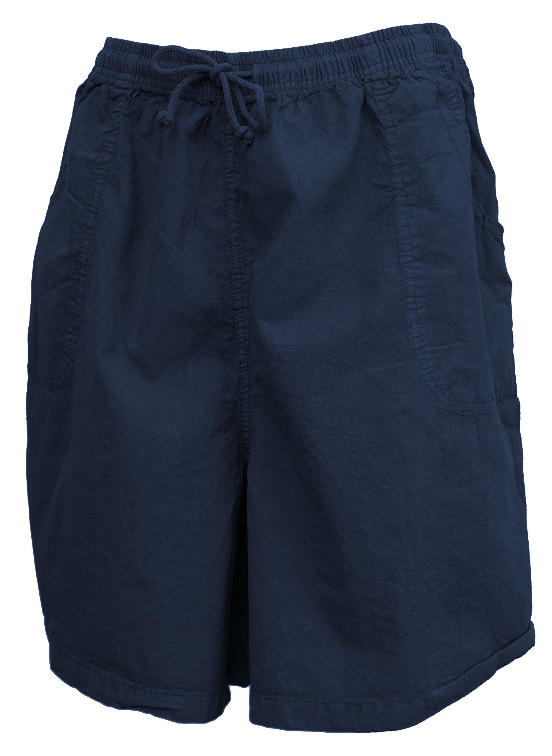 Salem Straits Women's Plus Size 100% Cotton Sheeting Cargo Shorts (Navy Blue, 1X) by Salem Straits