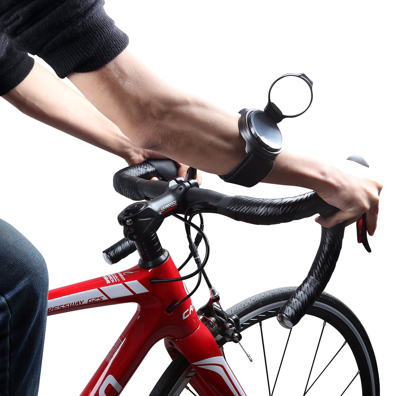 ICOCOPRO Bike Rear View Mirror-Slim Fit, Rotatable & Collapsible Mirror Bike Backeye Adjustable Armband Wrist Wear Bike Mirror for Safety Rear View Biking