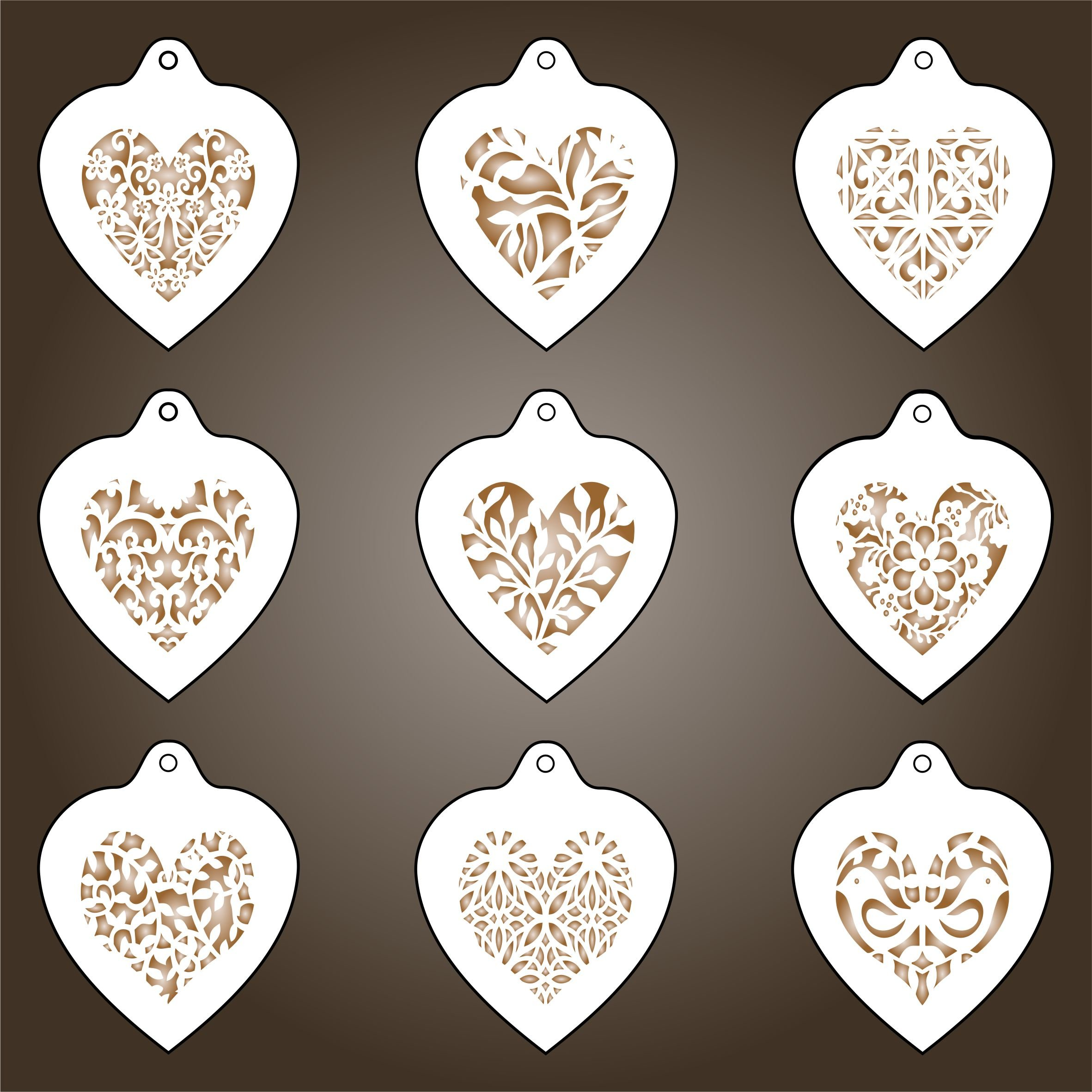 Heart Coffee Set Stencil - 9 Designs - Reusable Barista Stencils for Decorating Cappuccino Coffee Latte Cupcakes Cakes Cookies Scrapbooking Stenciling and more... by Stencils for Walls (Image #1)