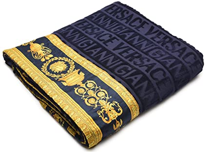 Versace Gianni Toalla de Playa Unisex, diseño de Cabeza de Medusa, Color Azul Marino