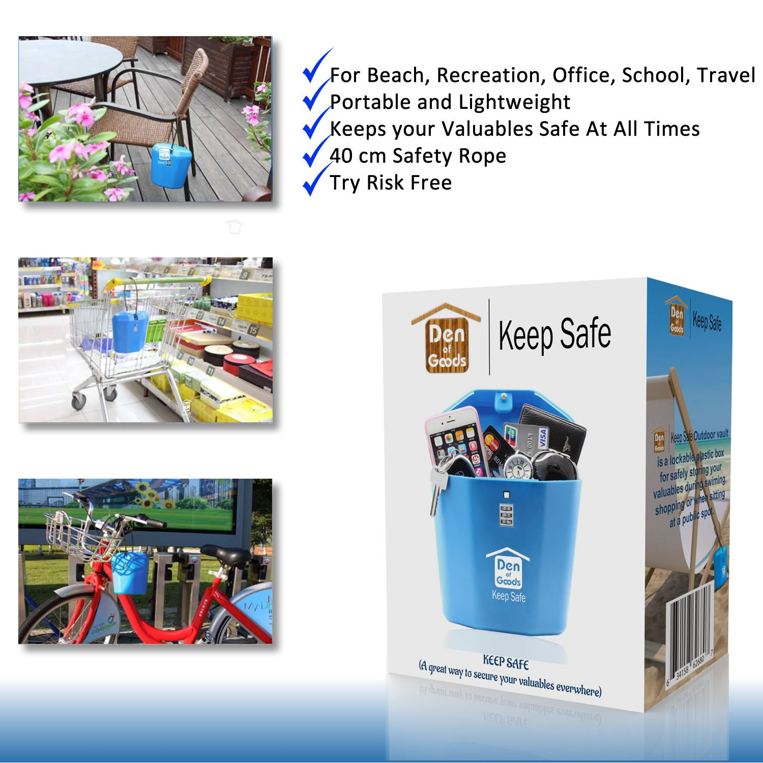 Keep Safe Portable Travel Vault Lock Box  Gifts for Men  For Beach, Car,  Caravan, Camping, Sports, Travel, Shopping