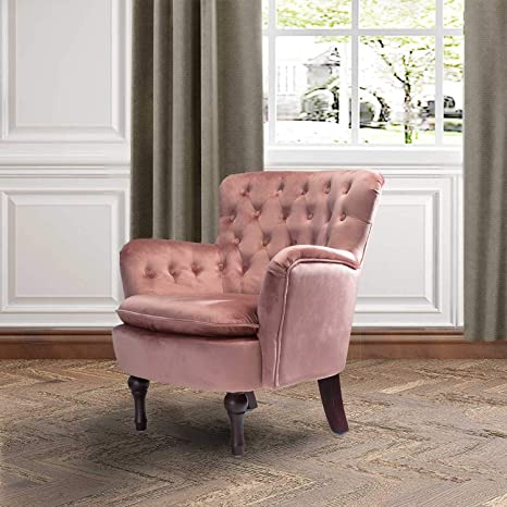 Blush Pink Velvet Tufted Arm Chair | Isabella Small Accent Chair for Lving  Room Bedroom - Plum/Rosewood