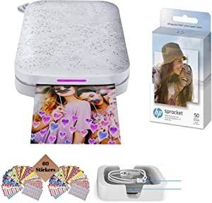 HP Sprocket Photo Printer, Print Social Media Photos on 2x3 Sticky-Backed Paper (Black) + Photo Paper (50 Sheets) + USB Cable + 60 Decorative Stick-On Border Frames