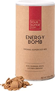 Your Super Energy Bomb Superfood Mix - Plant-Based Energizing Powder, Coffee and Energy Drink Replacement - Non-GMO, Organic Acai Berry, Guarana, Maca, Lucuma, Banana - 7.05 Ounces, 40 Servings
