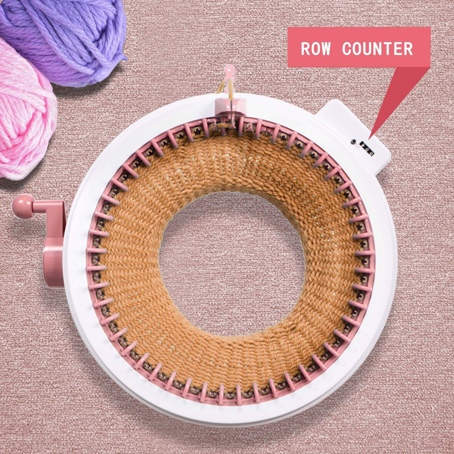 Weaving Loom for Adults or Kids Knitting Board Rotating Double Knit Loom for Sock//Hat 48 Needles Smart Weaving Loom Round Knitting Machines Knitting Machine with Row Counter