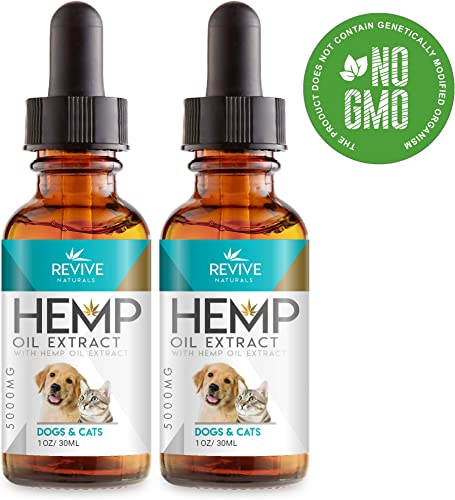 Revive Naturals Organic Raw Hemp Oil for Dogs Cats – Synergistic Formula, Made with Organic Wildcrafted Catnip Extract, Herbal Supplements Pet Calming Treats, GF 2 Pack