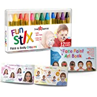 Dress-Up-America Face Paint Crayons - With Artbook & Easy To Follow Facepainting Designs -Safe Non-Toxic Face And Body…