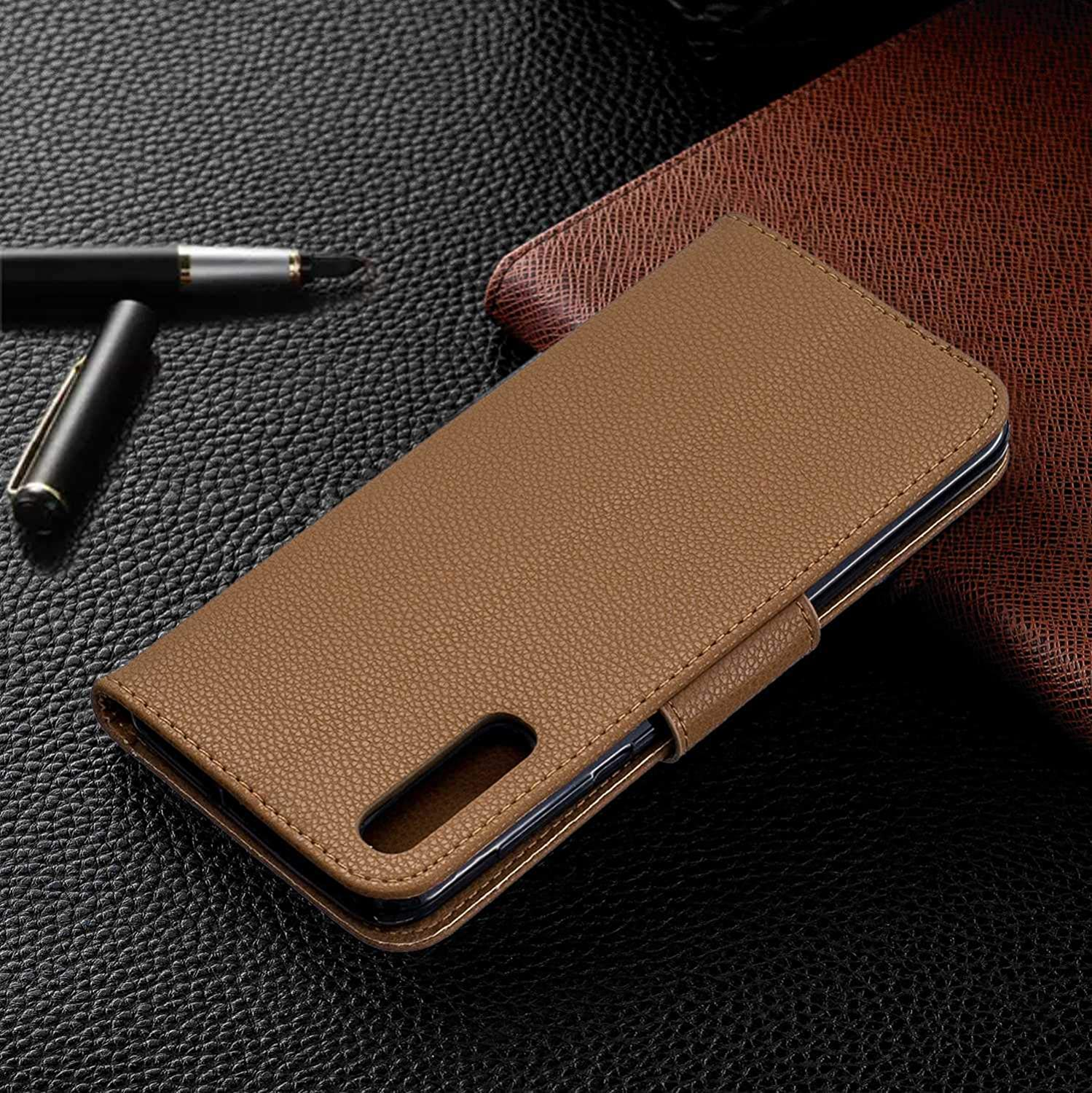 Bear Village Premium PU Wallet Protective Case with Kickstand Function Galaxy A50 Case Black Wrist Strap and Card Slots for Samsung Galaxy A50