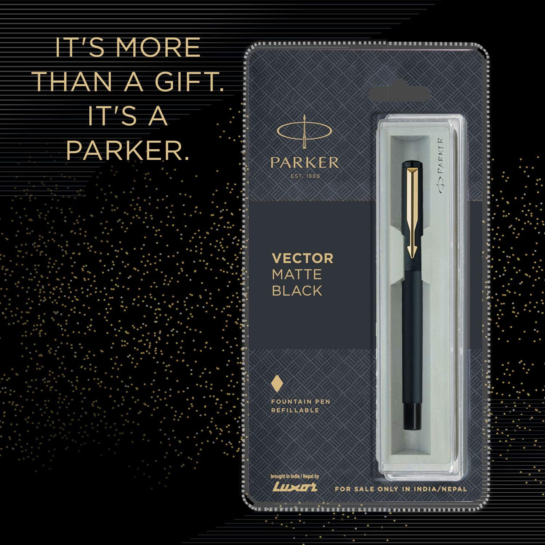 Parker Vector Stainless Steel GT Fountain Pen Gold Nib