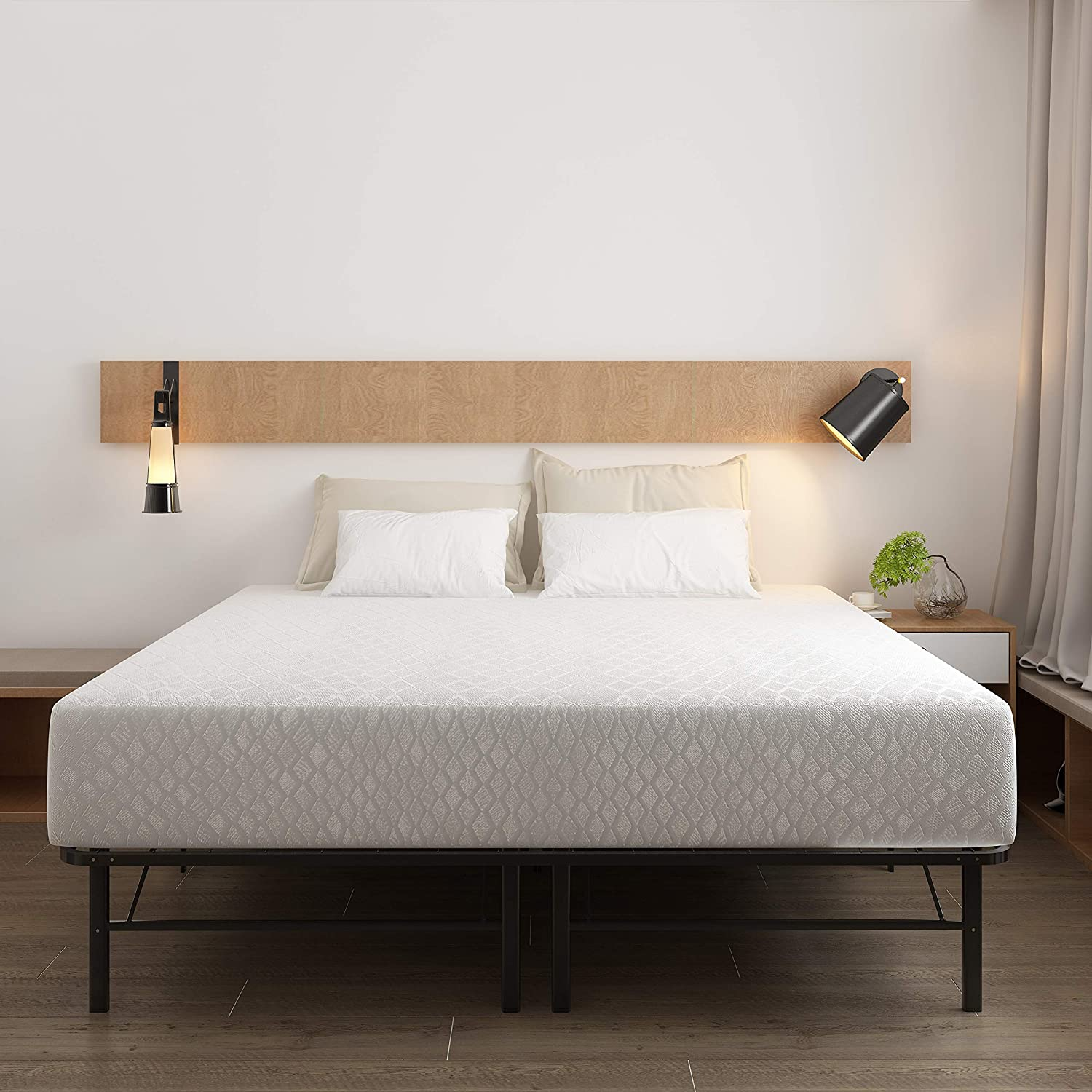 Signature Design by Ashley 12 Inch Memory Foam Mattress with Better Than a Boxspring Adjustable Base - King
