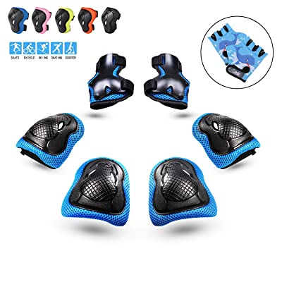 PHZ. Kids 8 in 1 Knee Pads Elbow Pads Wrist Guards Protective Gear Set for Rollerblading Skateboard Cycling Skating Bike (Blue) : Sports & Outdoors