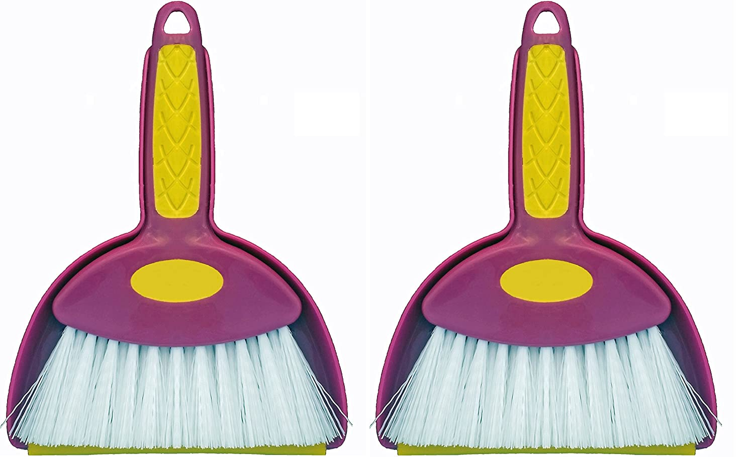 Mini Hand Whisk Broom and Snap-on Dustpan Set Available in Various Package Quantities (2, Small)