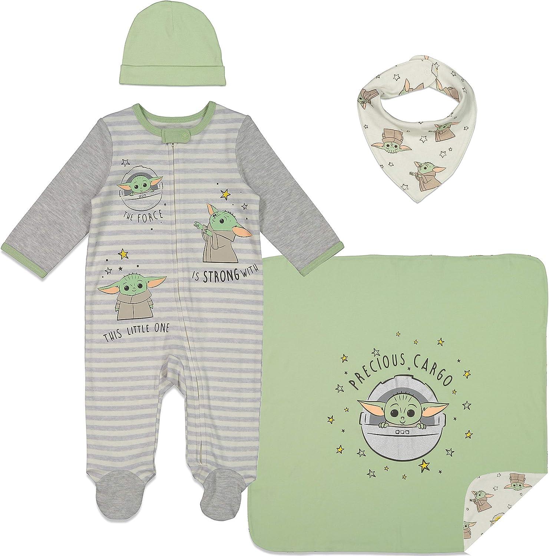 STAR WARS Mandalorian The Child Layette Gift Set Footies Blanket Bib Hat