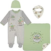 Mandalorian The Child Layette Gift Set Footies Blanket Bib Hat