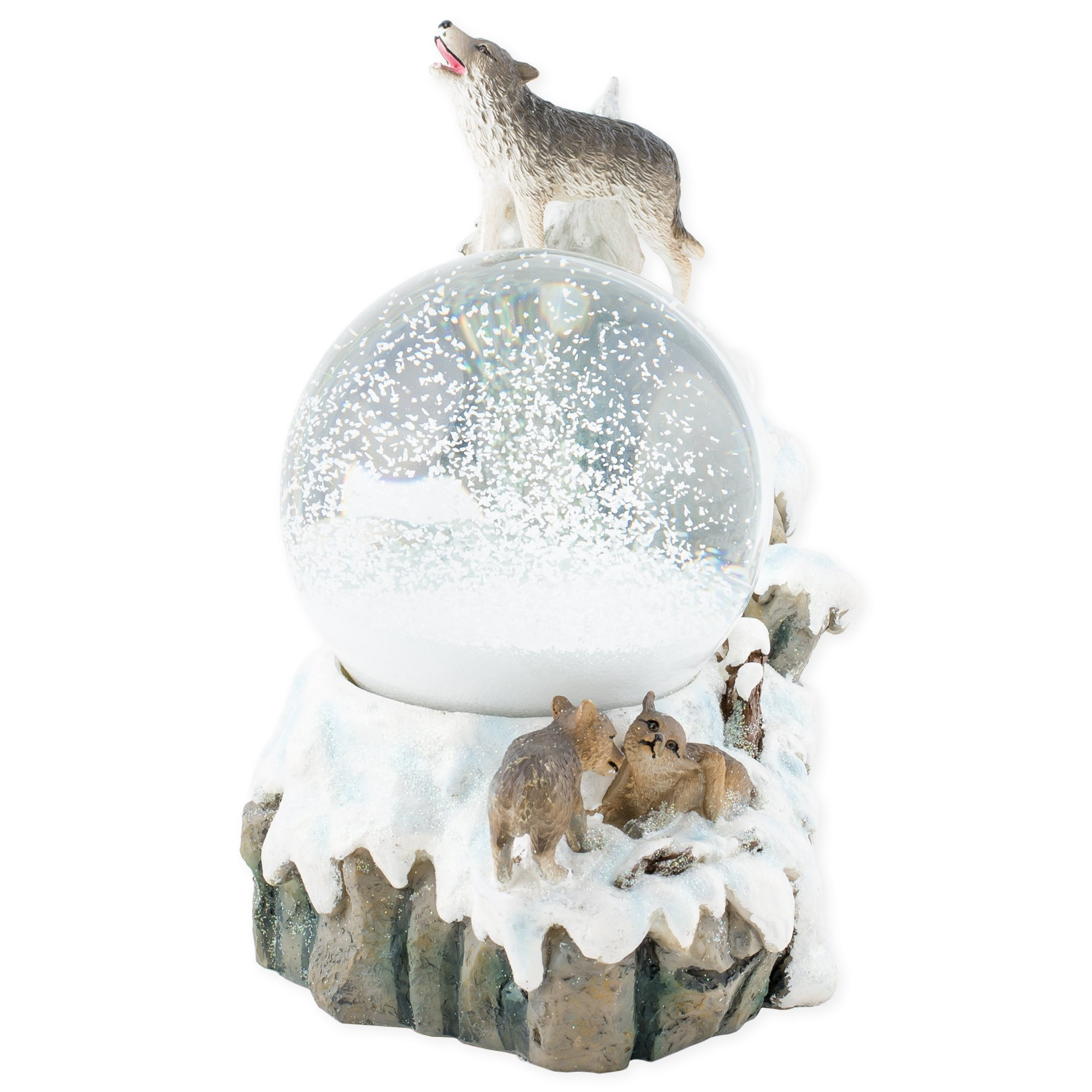 Howling Glitter Wolf with Babies 100mm Resin 3D Water Globe Plays Tune Born Free