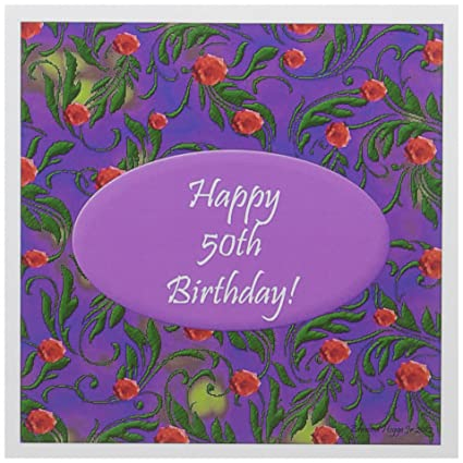 Amazon 3dRose Wild Purple 50th Birthday Design