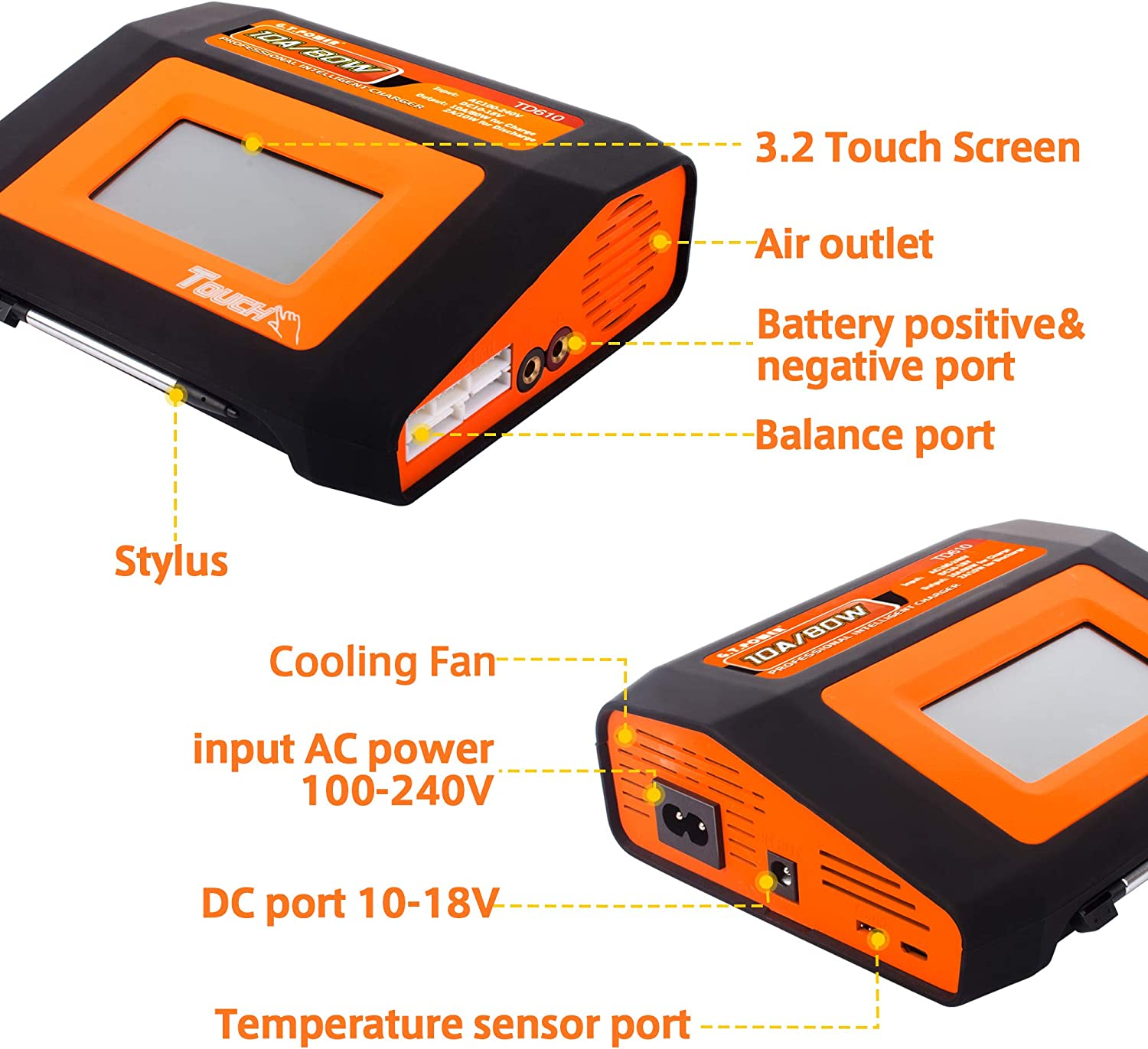 Td610 Charger G.T.Power TD610 LiPo Charger Dual RC Battery Balance Charger Touch Screen 10A80W for 1-6S Lipo//Li-ion//Life//NiCd//NiMH//PB Battery