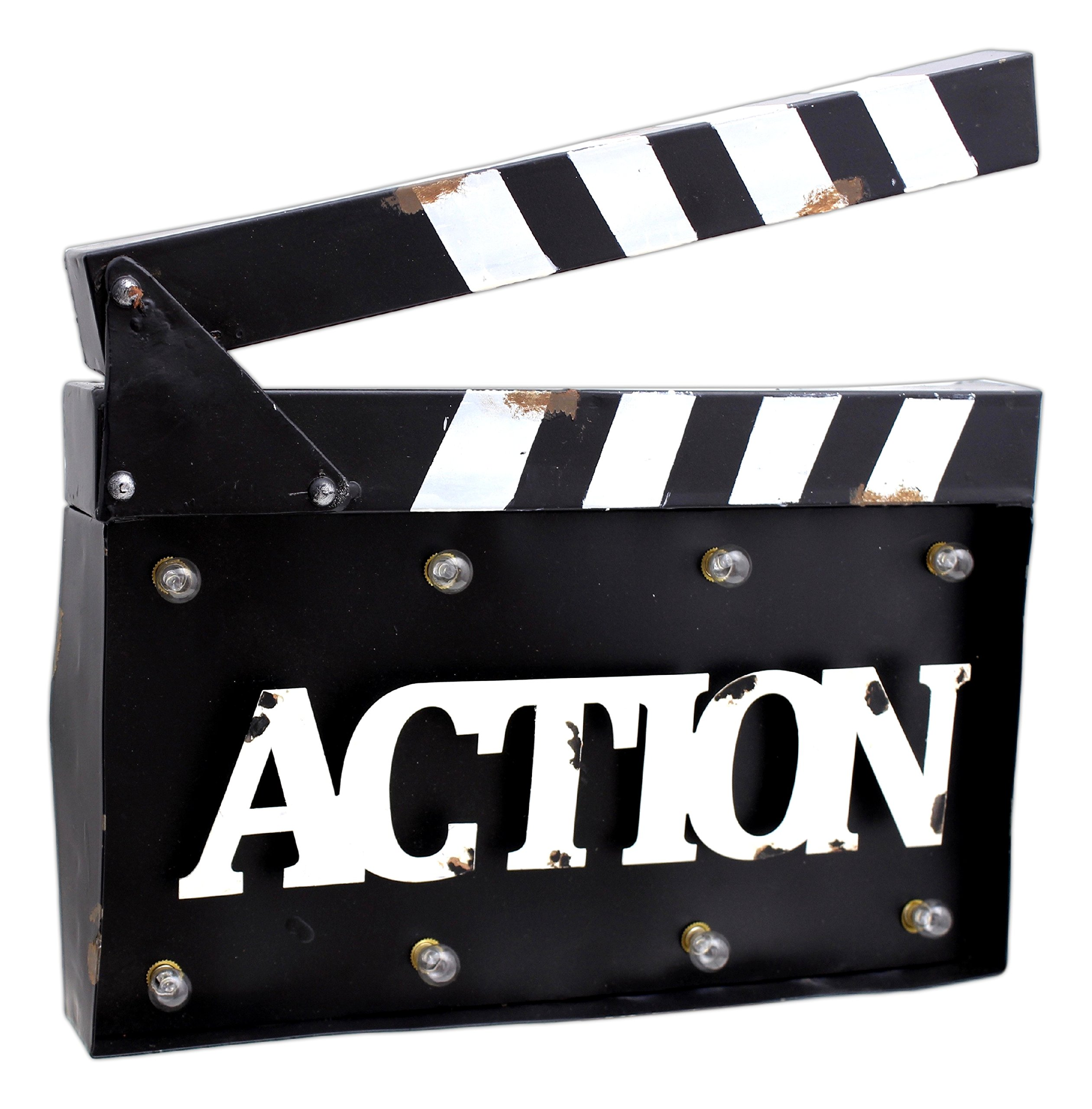 MayRich 14'' x 10.5'' Movie Clapperboard ''Action'' Sign with LED lights