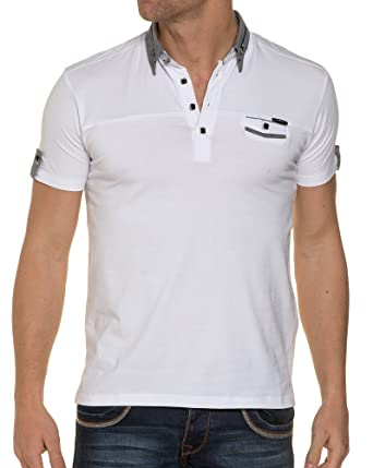 722f642f BLZ jeans - Polo shirt white man trend - Color: White, Size: XXL: Amazon.co. uk: Clothing
