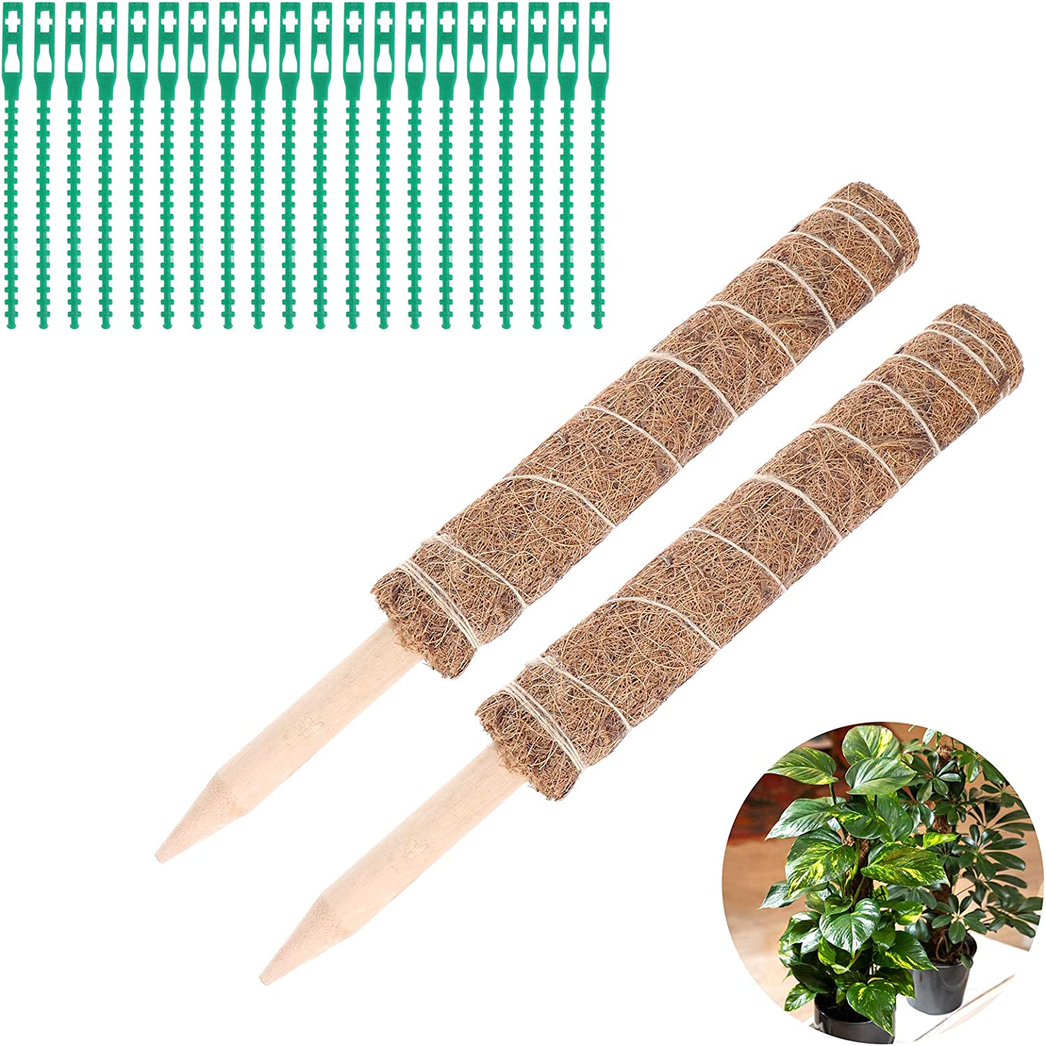Olgaa 20 Pcs Multi-Purpose Garden Plant Twist Ties Flexible Plastic Plant Wrap Ties with 2 Pack Coir Totem Pole Sticks for Plant Support Extension Climbing Indoor Outdoor Plants