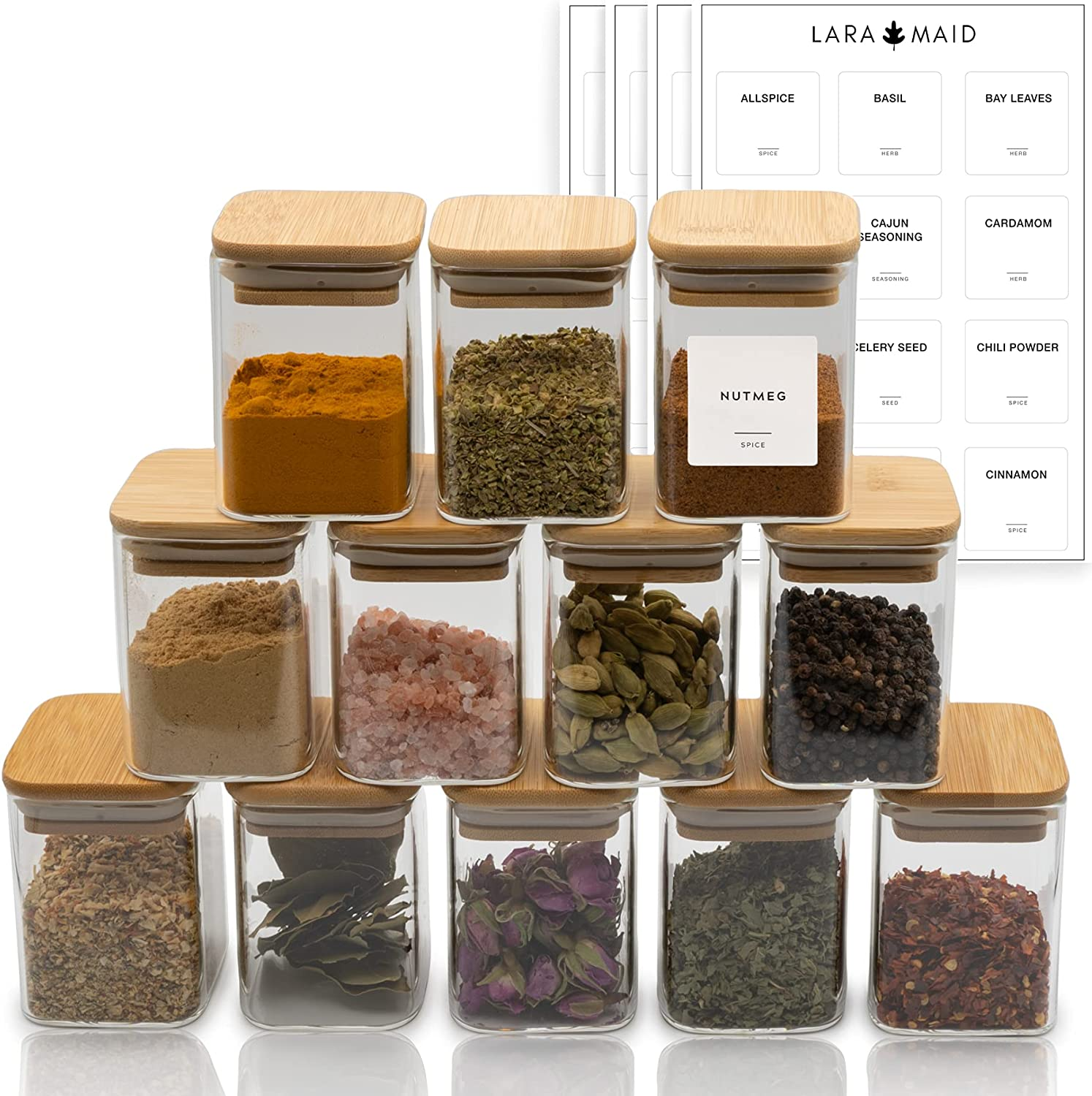 Laramaid Glass Jars Set, Square Spice Jars with Bamboo Lids and Customized Labels, 7oz 12Packs Small Food Storage Containers for Home Kitchen, Spice, Herbs, Seasoning, Seed, Tea, Sugar, Salt