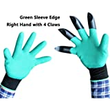 ZaoProteks ZP5010 Garden Genie Gloves as seen on TV with Fingertips Right Claws, Great for Digging, Rose Pruning, Planting Nursery , Raking, Cultivating ,Composting and so on (Green sleeve edges)
