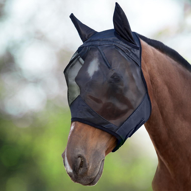 Harrison Howard CareMaster Fliegenmaske UV-Schutz Standard mit Ohrenschutz Schwarz