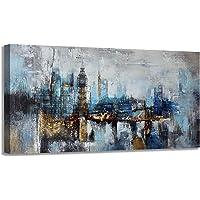 Pogusmavi Large Abstract City View Canvas Art Wall Decor
