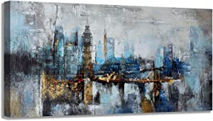 Large Wall Art Abstract City View Canvas Art Wall Decor for Living Room Modern Home Decor Gray Blue Buildings Prints for Bedroom Office Pictures Artwork Wall Decorations for Living Room 24x48 inch