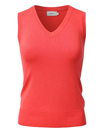 JJ Perfection Women's Knit V-Neck & Crewneck Sleeveless Pullover ...
