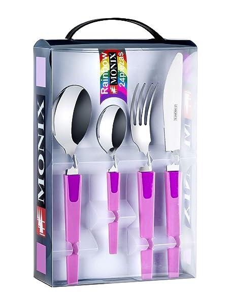 Monix Rainbow - Set 24 piezas cubiertos de acero inox 18/c, color malva