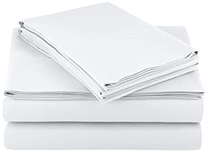 AmazonBasics Light-Weight Microfiber Sheet Set - King, Bright White_4 Pack