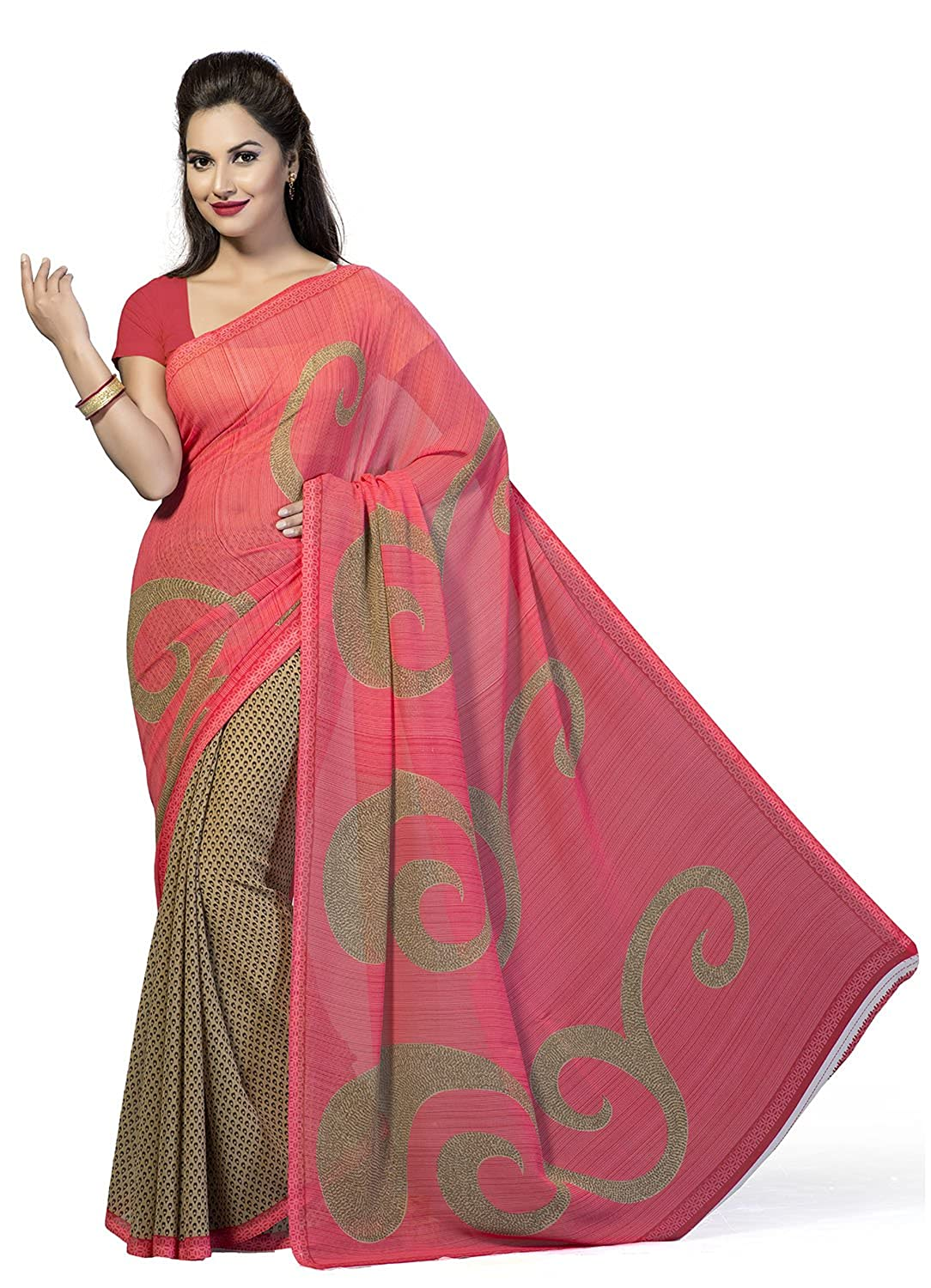 Beige & Pink Color Faux Georgette Saree With Blouse Piece