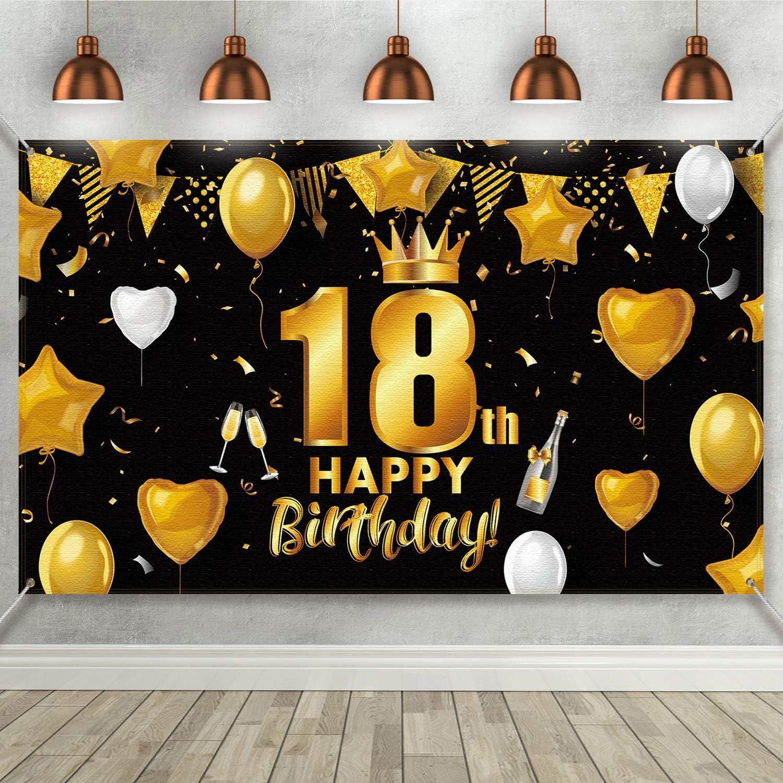 18 Geburtstag Schwarz Gold Party Dekoration Großes Kamera