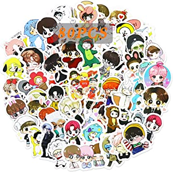Cute BTS Girls Women BTS Stickers 40pcs Decals for Laptops Water Bottles Toys and Gifts Cars Stickers Cartoon Anime Aesthetic Sticker Pack for Teens