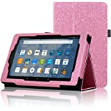ACdream All-New Fire HD 8 Tablet (7th Generation, 2017 Release Only) Case, Premium PU Folio Leather Tablet Case for Fire HD 8 tablet with Auto Wake Sleep Feature, (Star of Paris, Pink)