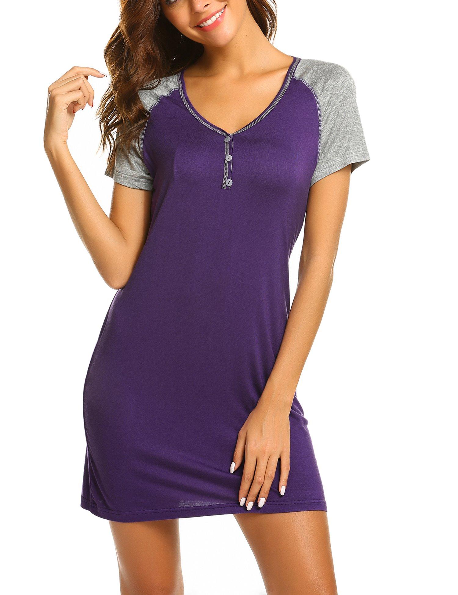 Ekouaer Short Sleeve Night Shirts Knee Length Sleep Dress Summer ...