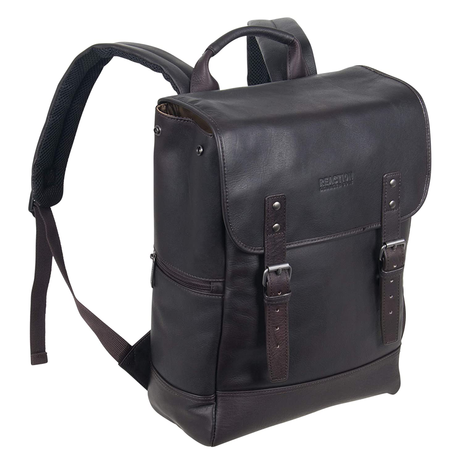 """Kenneth Cole Reaction Colombian Leather Single Compartment Flapover 14.1"""" Laptop Backpack (RFID), Brown"""
