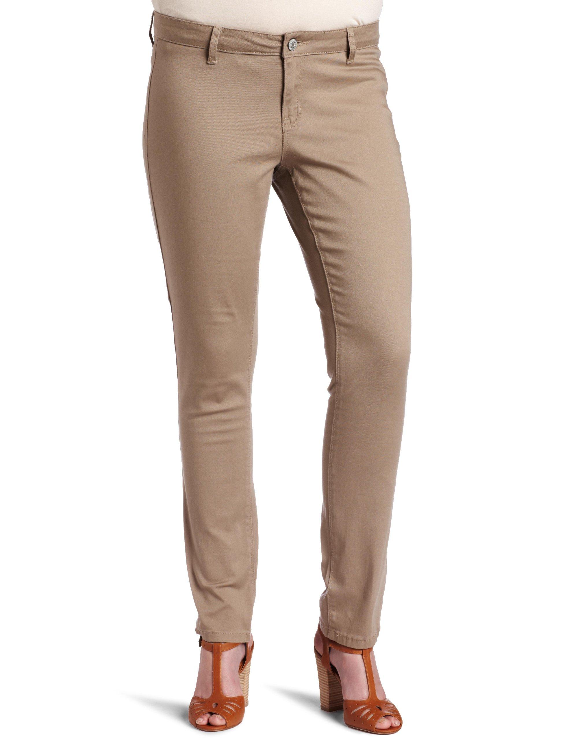 Southpole Juniors Plus-Size BASIC Uniform Low Rise Straight Fit Pant, Khaki, 14