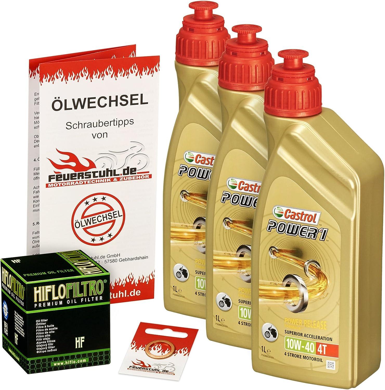 Castrol 10w 40 Öl Hiflo Ölfilter Für Suzuki Sv 650 S 99 10 Av By Ölwechselset Inkl Motoröl Filter Dichtring Auto