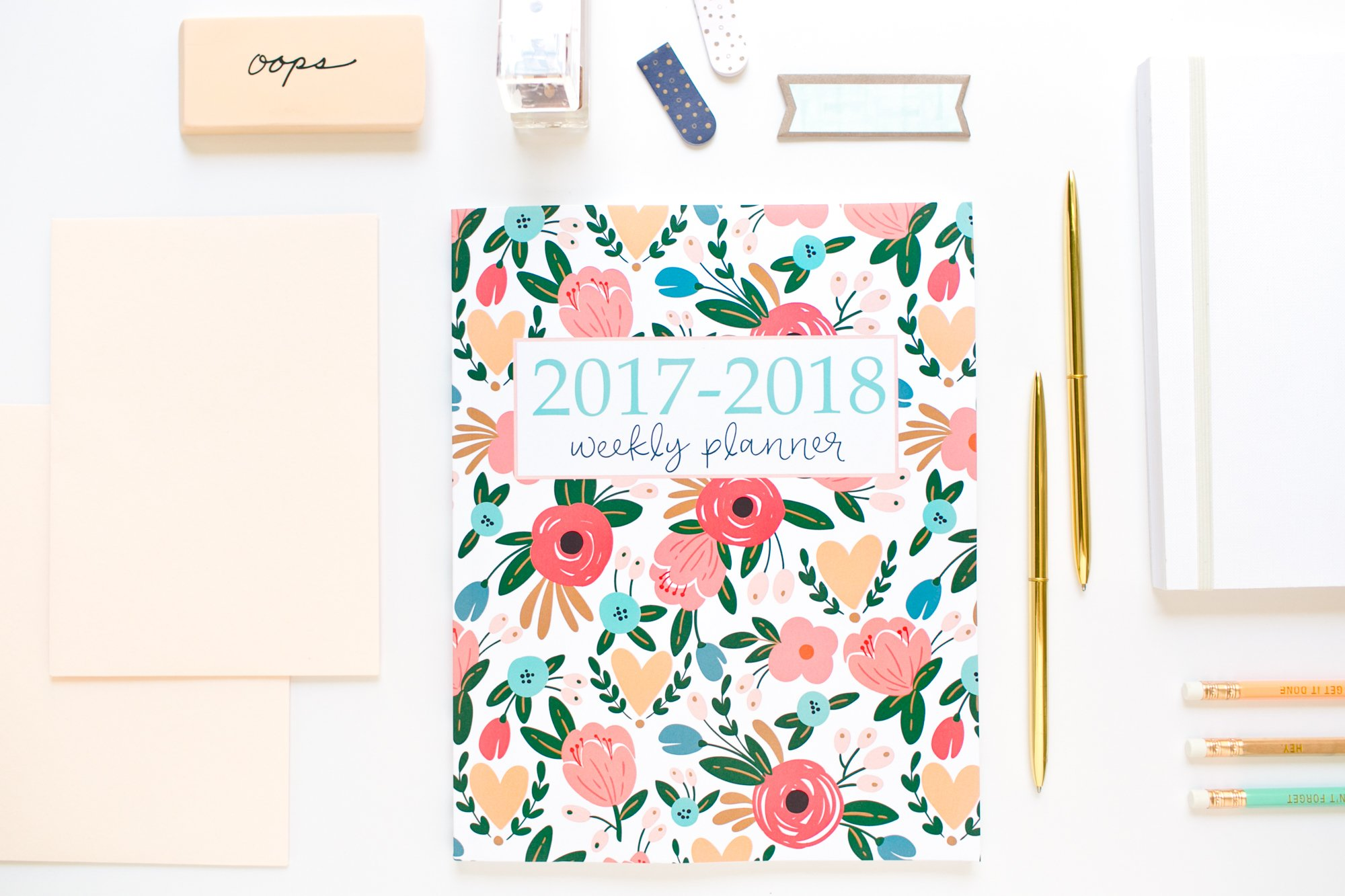2017 2018 academic planner weekly and monthly calendar schedule organizer and journal notebook with inspirational quotes and floral lettering cover august