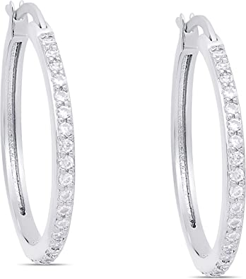 Victoria Townsend 925 Sterling Silver Cubic Zirconia Inside-Out White Hoop earrings for women.
