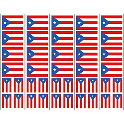 40 Removable Stickers: Puerto Rico Flag: Party Favors, Decals: Toys & Games