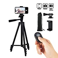 Hitch Phone Tripod, 51 Inch 130cm Aluminum Lightweight Tripod for iphone/Samsung/Huawei Smartphone, Camera with Bluetooth Remote Control, Carrying Bag and Gopro Mount (Black)