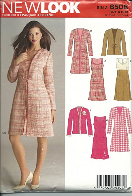 45151f7f705 New Look 6508A Sewing Pattern Misses Dress Jacket Coat Size 818   Amazon.co.uk  Kitchen   Home