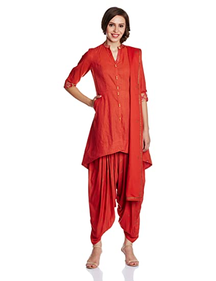 BIBA Women's Asymmetrical Hemline Salwar Suit Women's Salwar Suits at amazon
