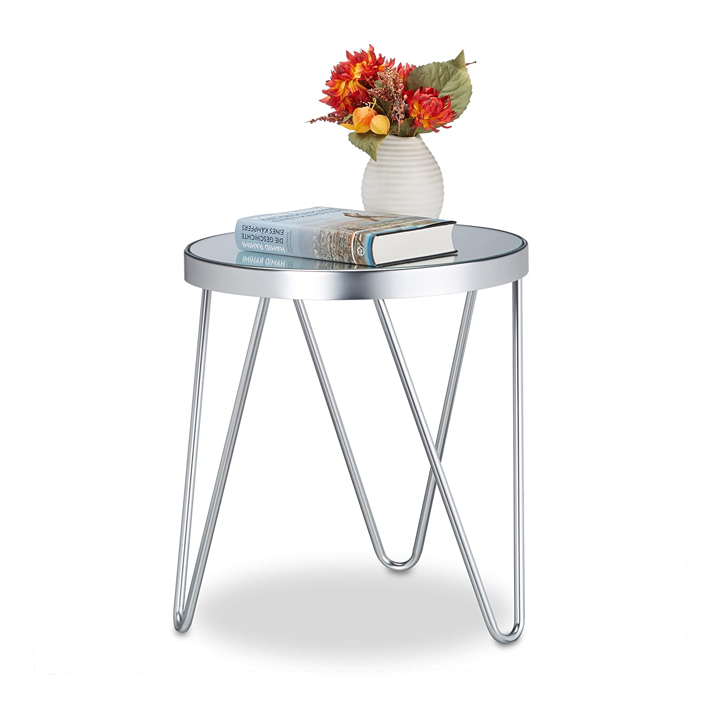 Relaxdays Table d'appoint en verre - Chrome - miroir en verre - petite table d'appoint - table basse - H x L x P: 47 x