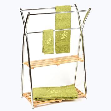 Handtuchhalter Stehend Mit 3 Stangen Und 2 Regalfachern Aus Bambus