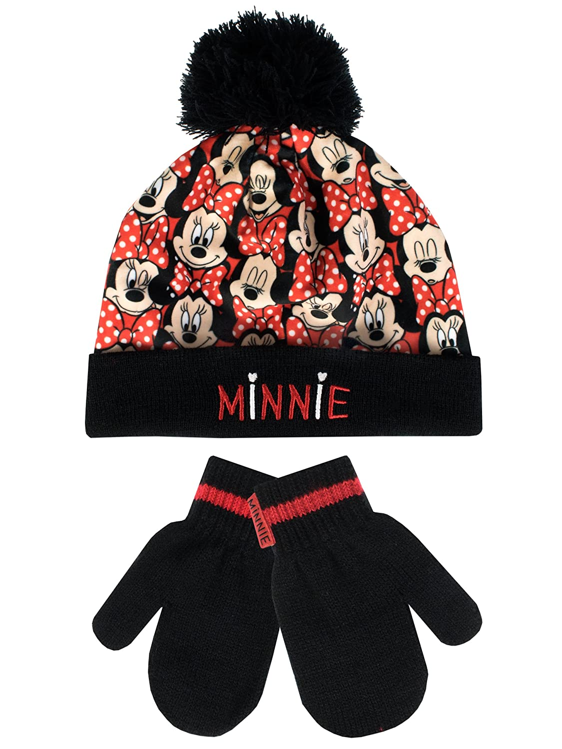 Disney Minnie Mouse Girls Minnie Mouse Hat and Gloves Set Ages 2 to 8 Years